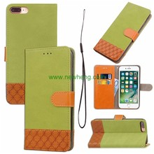 Cowboy skin material splicing flip leather case for iphone 7 plus