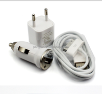 Mobile Phone Accessories USB Cable + Car Charger Adapter + Wall Charger 5V 1A 2A