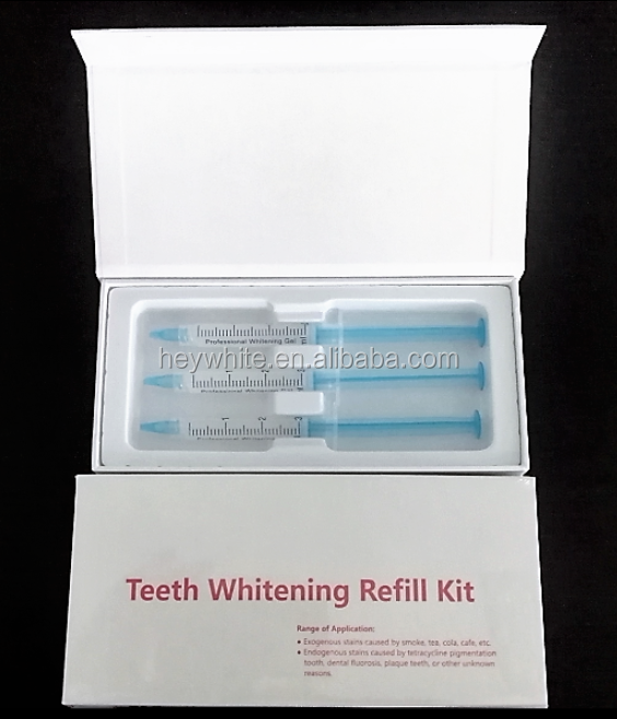 3 pcs Gels Teeth Whitening Refill Kit OEM your own logo Carbamide Peroxide or Hydrogen Peroxide gel