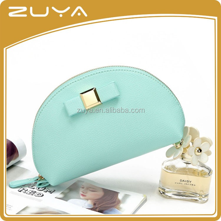 Fashion custom handmade PU leather cosmetic pouch make up purse clutch zipper bag