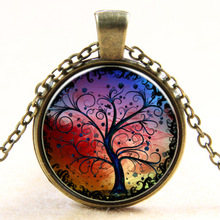 XP-TGN-LT-132 Wholesale Vintage Meaningful Dome Cabochon Mandala Antique Time Gemstone Necklace In Glass