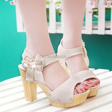 HFR-T0089 fashion flower bowknot summer 2014 new style high heel beach sandals