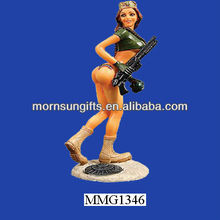 New Brunette Beauty Sexy Girl Figurine With Weapon For Sale