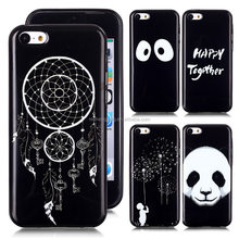 Black Printed TPU Case Full Printing Back Mobile Phone Cover For iPhone 5C