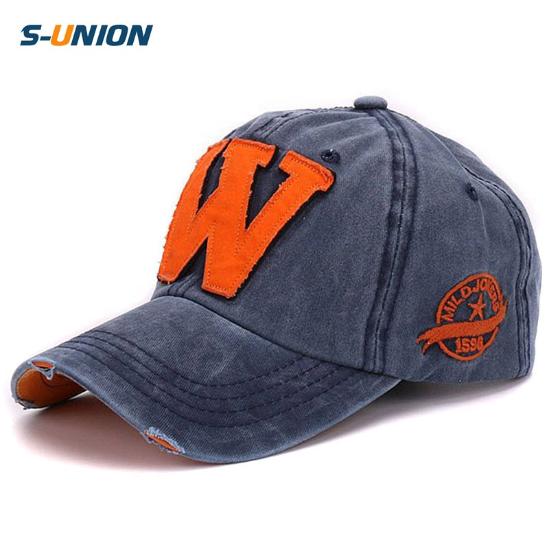 S-UNION Drop shipping washed soft cotton cap embroidery patch <strong>w</strong> letter baseball caps for men and women