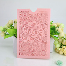 Selling Wedding Supplies Pearl Paper Laser Graving Lace Wedding Invitation Hindu Wedding Card Place Card Holders