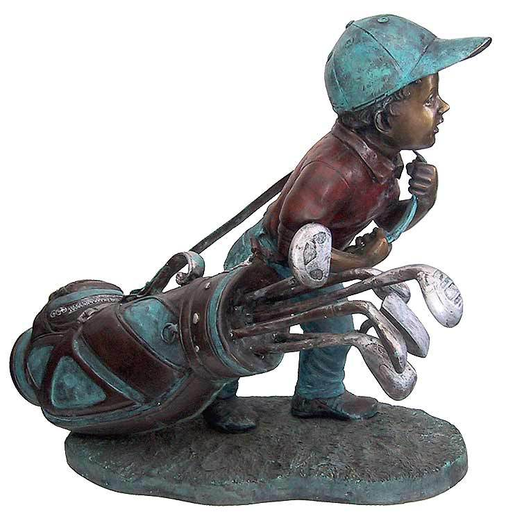 Figurative Bronze Sculptures - Golfer Statues - Golf Caddie BS149A
