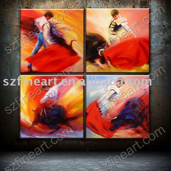 Best Seller Modern Spanish Bullfight Oil Painting on canvas for European Taste