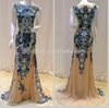 OEM custom alibaba China 2016 Manufacturer Wholesale Blue Long Evening Dress Applique Lady Formal Evening Party Dresses