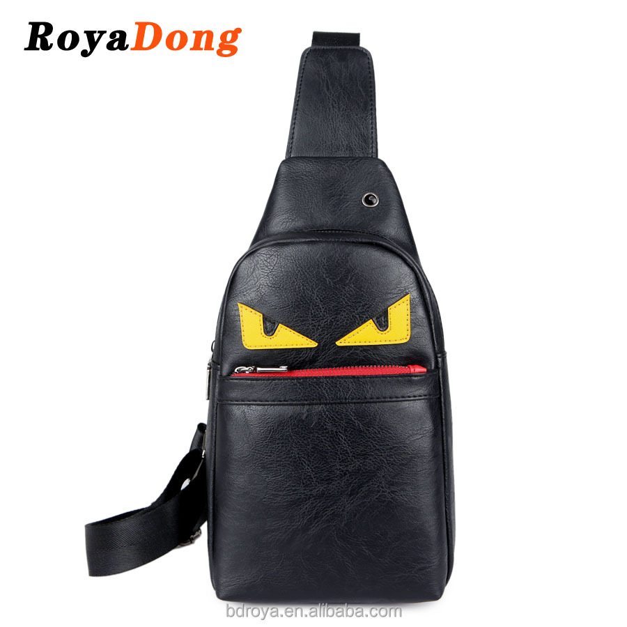 Royadong 2017 New Style Fashion Little Monsters High Quality Large Capacity Pu Leather Unisex Chest Bags