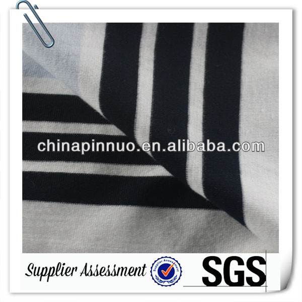 Blue and White Stripe 100 polyester single jersey fabrics