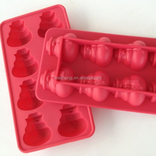 8 Cavities Silicone Christmas Snowman Ice Cube Tray XMAS Silicone Mold Cake Decorating Chocolate Mat