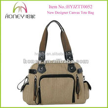2016 Fashion Durable With Leather Trimming Heavy Canvas Tote Bag