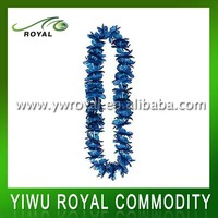 Cheap Blue Polyester Flower Necklace Hawaii Artificial Lei