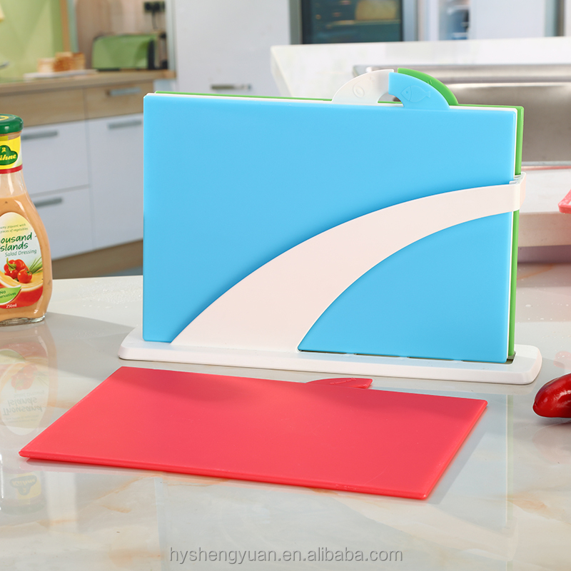 Factory Supply 4pcs Multi Color Thin PP Plastic Classified Cutting Board Set Chopping Blocks Set