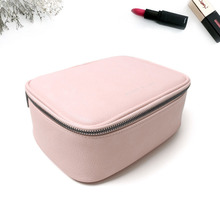 FuYuan Factory Design Blank Pu Leather Big Capacity Travel Cosmetic Bag Train Case