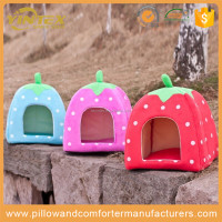 New Soft Pet Dog Cat Rabbit Bed House Kennel Doggy Warm Cushion Strawberry Colored Dog Houses