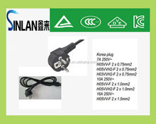 Korea electrical plug, KC power plug with rubber cable