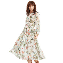 Summer Newest Long Sleeve White Flower Print Maxi Sexy Women Wholesale Dress