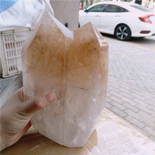 8lb large Rare golden rutilated Polished Quartz Crystal Point