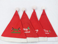 Customized Embroider Logo OEM Wholesale Cheap Non Woven Fabric Santa Christmas Hat Novelty for Adult