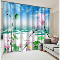 Newest Chinese style lotus printing 3d curtains with polyester fabric made in china