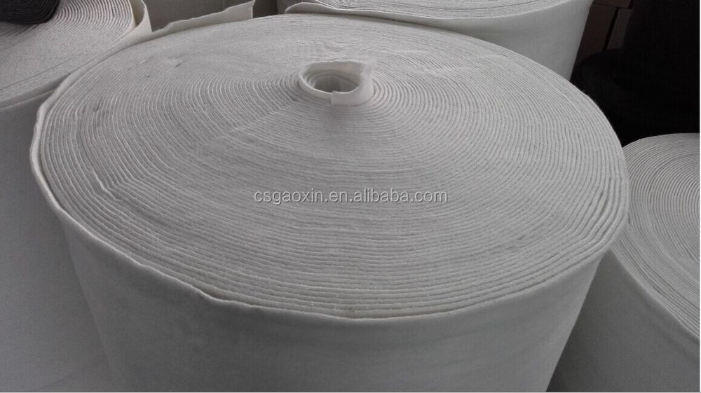 flame retartdant white grey polyester or polypropylene nonwoven high-temperature felter felt roll for air condition filtration