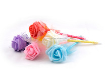 Novelty plastic rose flower ball pen for gifts