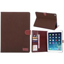 Matt skin wallet leather case for iPad 6,retro leather pouch for ipad air 2