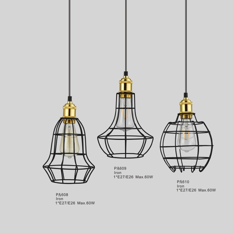 DIY Home Lights Instant Indoor Pendant Light Fixtures with Modern Iron Cage Shade Cover