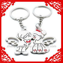 ZP-K989 promotional gift stainless steel angel lover keychain vners