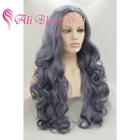 Women's Long Wavy Heat Resistant Fiber Synthetic Hair Replacement Wigs Light Purple Grey Lace Front Wig Side Part For Cosplay