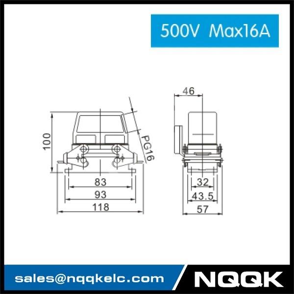 2 HDC HE 01S 500V Max16A  Industrial rectangular plug socket heavy duty connector.jpg