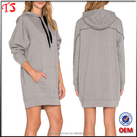 Apparel wholesale oem design women longline hoodies dress