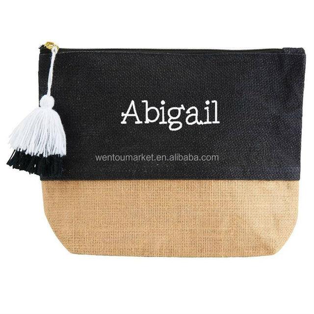 Wholesale Custom Jute Color block Cosmetic Bag