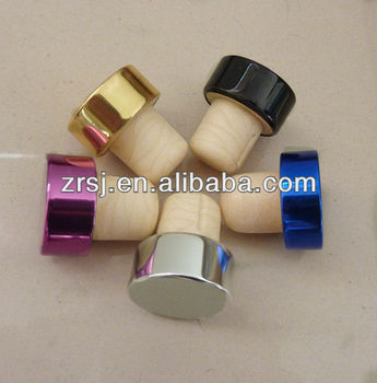 2013 New design colored decorative natural silicone cork stopper with metal cap for wine bottle