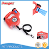 Hot sell dog leash hands free dog leash/ with flashlight and waste bag led retractable dog leash