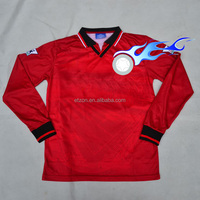 High quality OEM custom european leagues blank long sleeve soccer jersey wholesale