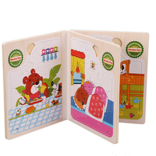 Toys for kids Educational puzzle animal fruit book wooden puzzle set