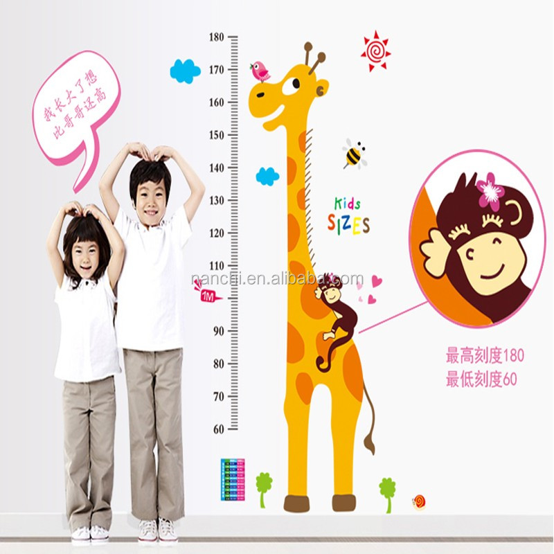 Giraffe Children Room Decor Height Stikers Kindergarten Height Growth Chart Wall Decals Kids DIY Sticker