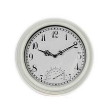 Plastic Cream Outdoor Wall Clock with Thermometer for Garden Decor