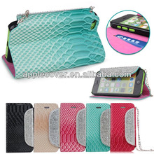 crocodiles leather Jewlery Case for iPhone 5c with stand ability