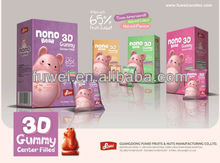 3D gummy bear candy center filling soft candy with 65% fruit juice