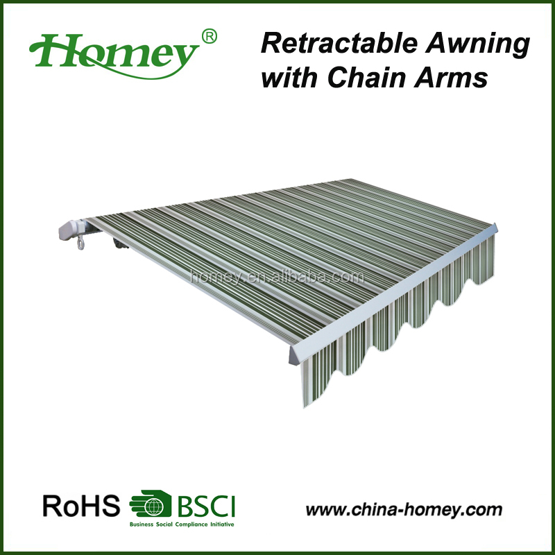 Unique chain arms aluminum awning sun and rain protection in window and door