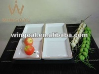 set of four square dish with wooden tray Assorted dishes