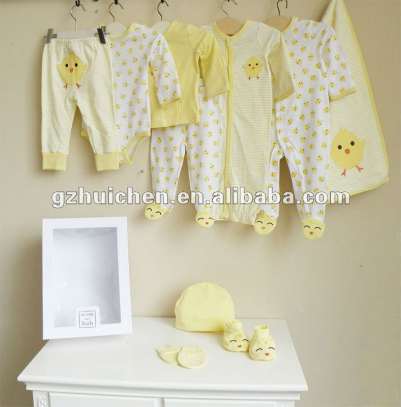 2012 Autumn mom and bab baby clothes 100% cotton embroidered 10in1 newborn gift box