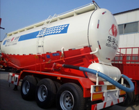 china used air compressor 45CBM dry bulk cement powder tanker semi trailer with engine