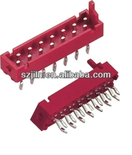 Red male straight solder IDC connector without latch