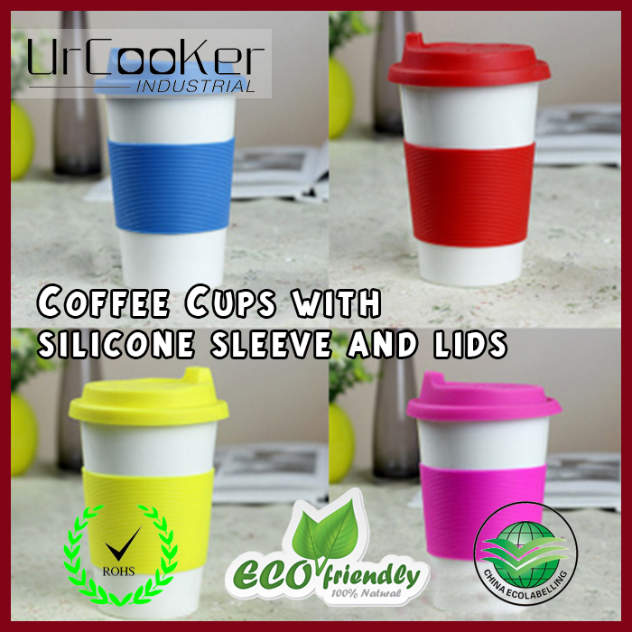 Double Walled Ceramic Mug with Silicone lid and Sleeve,Ceramic coffee cup with silicon lid