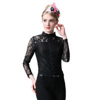best selling ladies blouse designs long sleeve black lace stand collar shirt